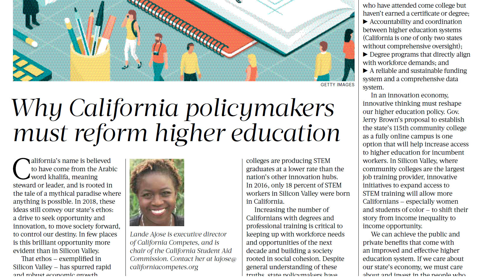 California Competes Executive Director Lande Ajose  >> Why California Policymakers Must Reform Higher California Competes